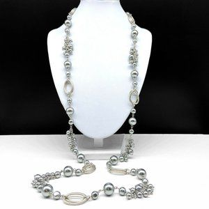 Talbots Gray Faux Pearl Cluster Beaded Necklace